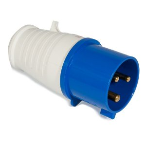 Tomada Industrial Macho 2P + T 6H 220VAC 32A Azul IP44
