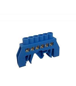 Barramento Neutro com 6 Bornes para Trilho DIN ou Parafuso 80A Azul