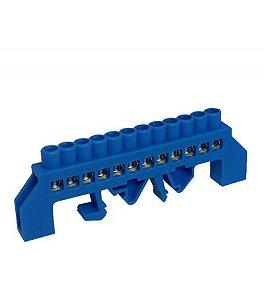 Barramento Neutro com 12 Bornes para Trilho DIN 80A Azul