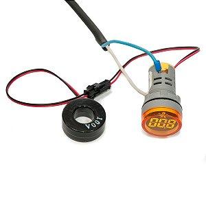 Amperímetro Digital Sibratec 22mm 0-100A CA Amarelo