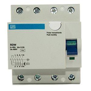 Interruptor Diferencial Residual Weg DR 40A 4P RDW-300-40-4