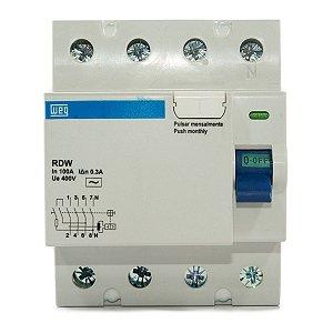 Interruptor Diferencial Residual DR 100A 4 Polos RDW300-100-4 Weg