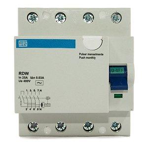 Interruptor Diferencial Residual DR 25A 4 Polos RDW30-25-4 Weg