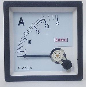 Amperimetro Analogico 72x72mm Medição Direta 20A