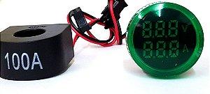 Voltimetro/Amperimetro 22mm 50-500VCA / 0-100A Verde