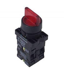 Chave Seletora Iluminada Vermelha XB2-EK3465 220Vca 3 Posições 2NA