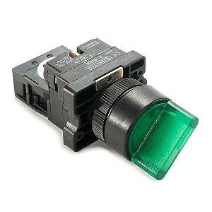 Chave Seletora Iluminada XB2-EK2361 220Vca 2 Posições Verde 1NA