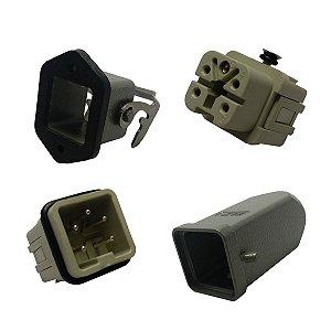 Conjunto Tomada + Plug Industrial 4 Polos + Terra