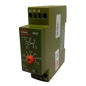 Rele Temporizador Coel AEG 15Min Retardo Pulso 94-242V e 24V