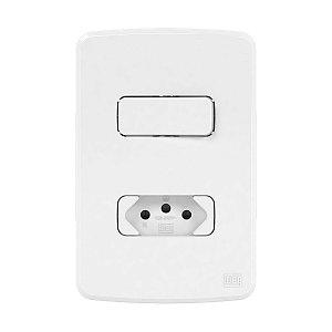 Placa 4x2 + Suporte + 1 Interruptor Simples + 1 Tomada 10A Compose Weg