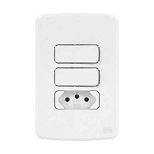 Placa 4x2 Branca + Suporte + 1 Interruptor Simples + 1 Paralelo + 1 Tomada 2P+T 10A Compose Weg