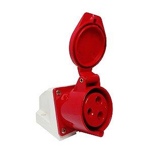 Tomada Industrial de Sobrepor 123-9 32A 9H 380-415V 2P+T Vermelha