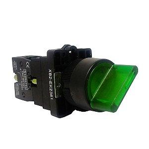 Chave Seletora Iluminada Verde XB2 2 Posições 24Vcc/Vca 1NA