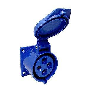 Tomada Industrial de Embutir 424-9 32A 6H 220V 3P+T Azul Sibratec