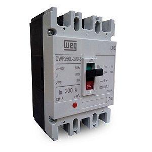 Disjuntor Caixa Moldada Tripolar DWP250L-200-3 200A Weg