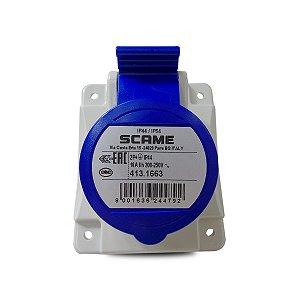 Tomada de Embutir Scame 2P + T 16A 200-250V 6h Azul