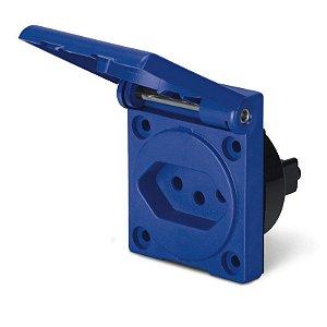 Tomada de Embutir Scame 2P + T 20A 250V Espelho 50x60mm Azul