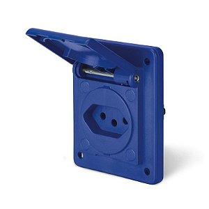 Tomada de Embutir Scame 2P + T 20A 250V Espelho 70x87mm Azul