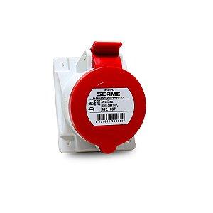 Tomada de Embutir Scame 3P+N+T 16A 6h 380V Vermelha 70x87mm