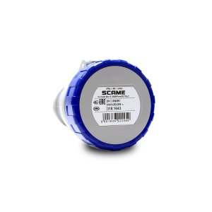 Tomada Industrial Pendente Scame 2P+T 16A 220V 6h Azul