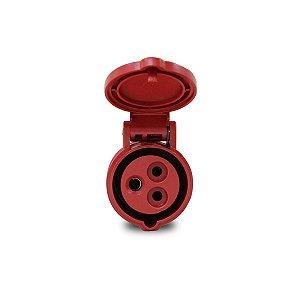 Tomada Industrial Pendente Scame 2P+T 16A 380V 9h Vermelho