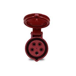 Tomada Industrial Pendente Scame 3P+N+T 16A 380V 6h Vermelho