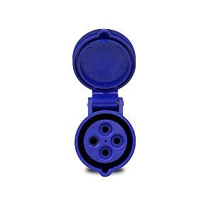 Tomada Industrial Pendente Scame 3P+T 16A 220V 9h Azul