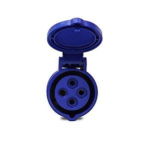 Tomada Industrial Pendente Scame 3P+T 220V 16A 9h Azul
