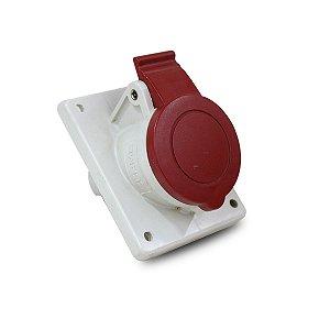 Tomada de Embutir Scame 2P+T 16A 380V 9h 70x87mm Vermelha