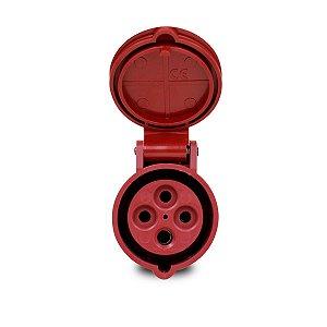 Tomada Industrial Pendente 3P+T 16A 6h 380V Vermelha