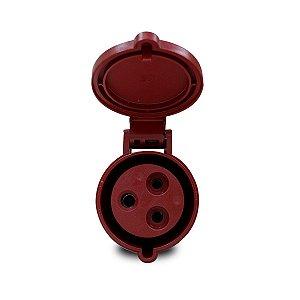 Tomada Industrial Pendente Scame 2P+T 32A 9h 380V Vermelha