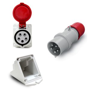 Kit Scame Tomada+Plug 3P+N+T 16A 380V 6h Vm + Caixa Sobrepor