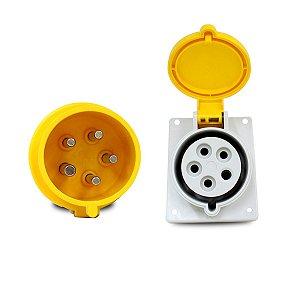 Kit Scame Tomada+Plug Industrial 3P+N+T 32A 127V 4h Amarelo