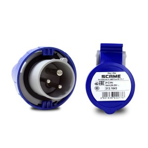 Kit Scame Tomada+Plug Industrial IP66 2P+T 16A 220V 6h Azul