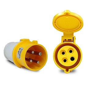 Kit Scame Tomada+Plug Industrial 3P+T 32A 127V 4h Amarelo