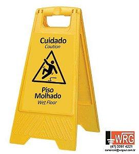 """PLACA SINALIZADORA DE CHÃO """"PISO MOLHADO"""""""