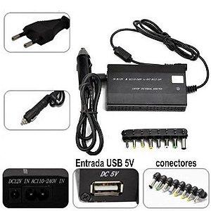 Fonte Universal para notebook com adaptador veicular 120w - 505A