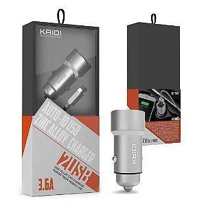 Carregador Veicular Dual USB 3.6A para Android KD-505 - Kaidi