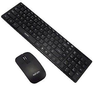 Kit Teclado e Mouse s/ fio BK-S1000 - Exbom