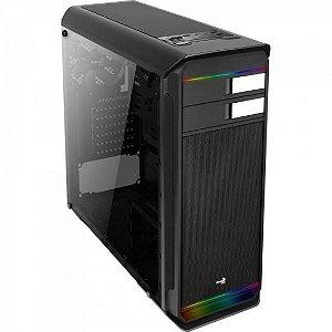 Gabinete Mid Tower RGB c/ LED Aero-500G Preto AEROCOOL
