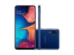 """Smartphone Samsung A20 32GB, A205G/32DL, Câmera traseira Dupla 13 MP + 5 MP Frontal 8 MP Tela 6.4 """", RAM 3GB - Azul"""