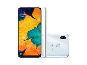 """Smartphone Samsung A30 64GB, A305GT/6DL, Câmera traseira Dupla 16 + 5MP e Frontal 16MP Tela 6.4 """", RAM 4GB - Branco Sim"""