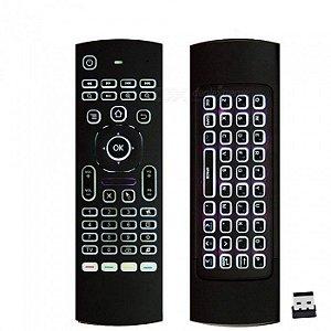 Controle Remoto universal c/ Teclado LED Air Mouse e IR