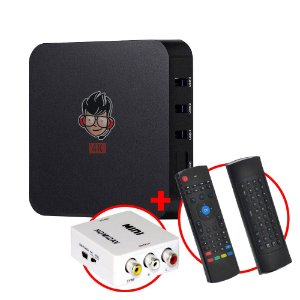 Kit TV Box MXQ Pro 4K Android 8.1 + Teclado Air Mouse + Adaptador HDMI / RCA AV