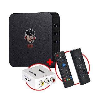 Kit TV Box MXQ Pro 4K Android 8.1 + Teclado Air Mouse + Adaptador HDMI / RCA AV