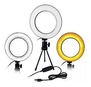 Iluminador Ring Light 6 Polegadas C/ Tripe De Mesa