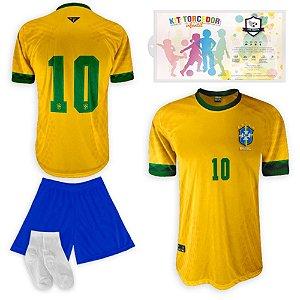 Kit Torcedor Infantil Réplica da Seleção do Brasil da SPR 2021-22