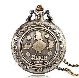 Relógio de Bolso Alice no País Das Maravilhas
