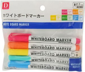 Marcador de Quadro Branco 5 Cores - Daiso