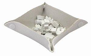 Bandeja de Peças em Couro Ecológico Branco 13x13 cm